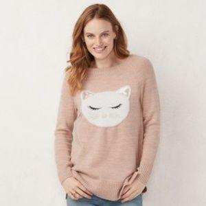 LC Lauren Conrad pink soft long sleeve cat sweater